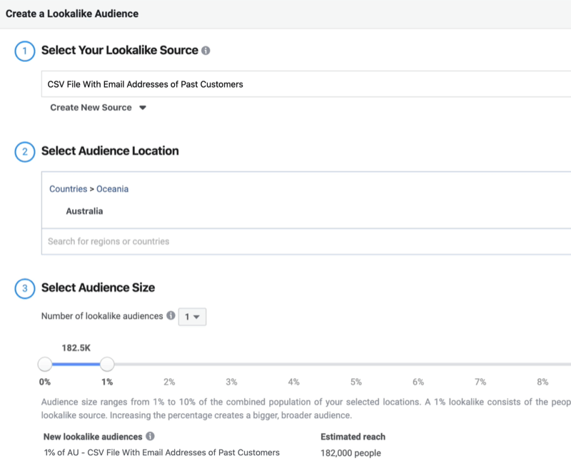 screenshot of the Create a Lookalike Audience window fields filled in to create a %1 lookalike audience based on a customer list custom audience