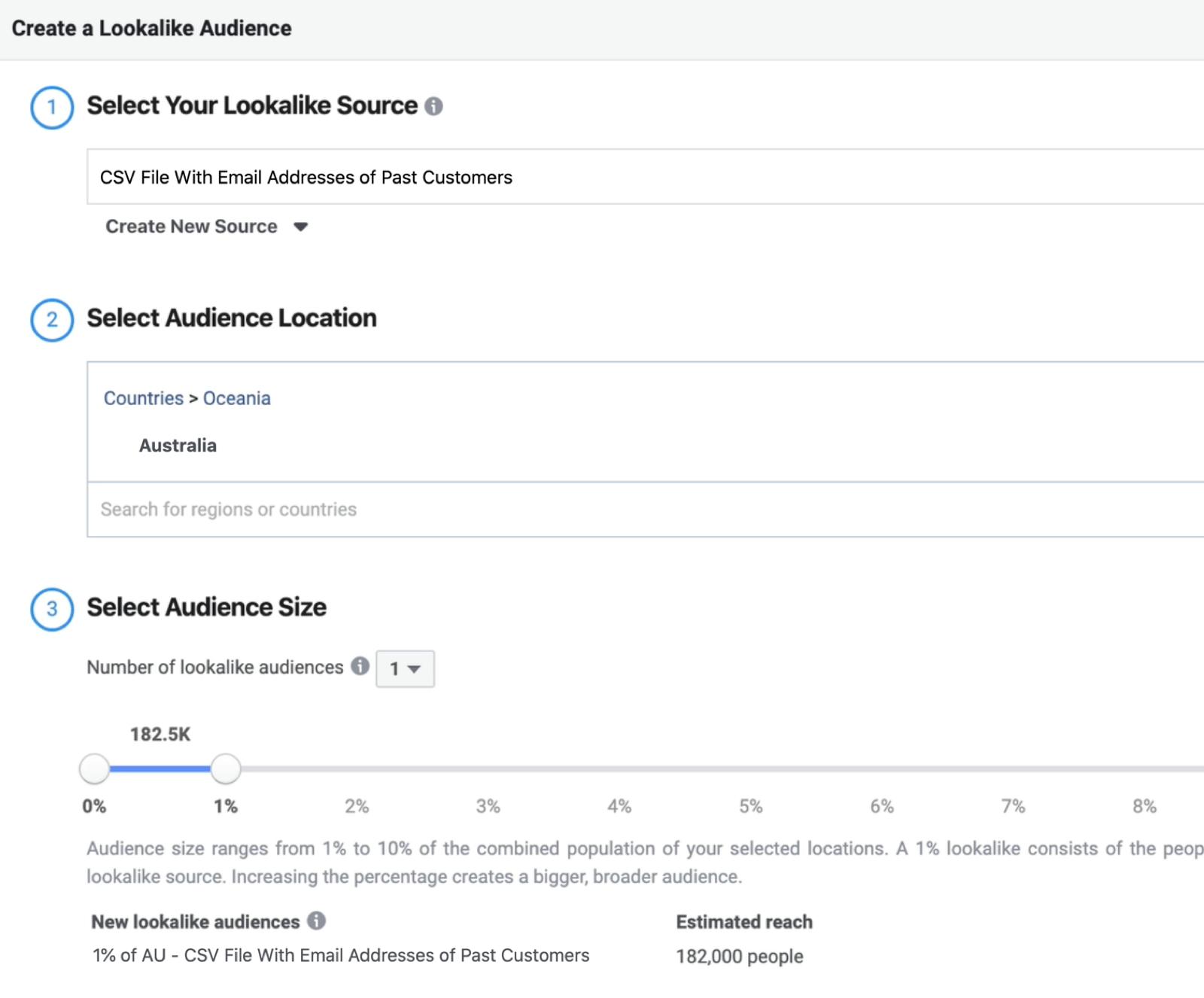 """填写""""创建相似受众""""窗口字段的屏幕快照,以根据客户列表自定义受众创建%1相似受众"""
