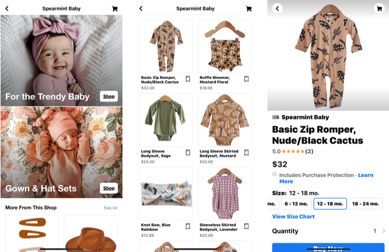 three screenshots showing the various stages of a facebook pages shops post with a shoppable item of a desert-themed baby romper