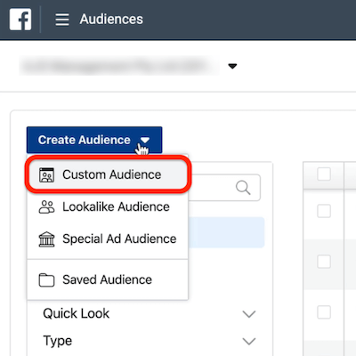 screenshot of the Custom Audience option circled in red in the Create Audience drop-down menu in Ads Manger