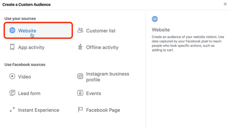 screenshot of the Website option selected as source for a Facebook custom audience