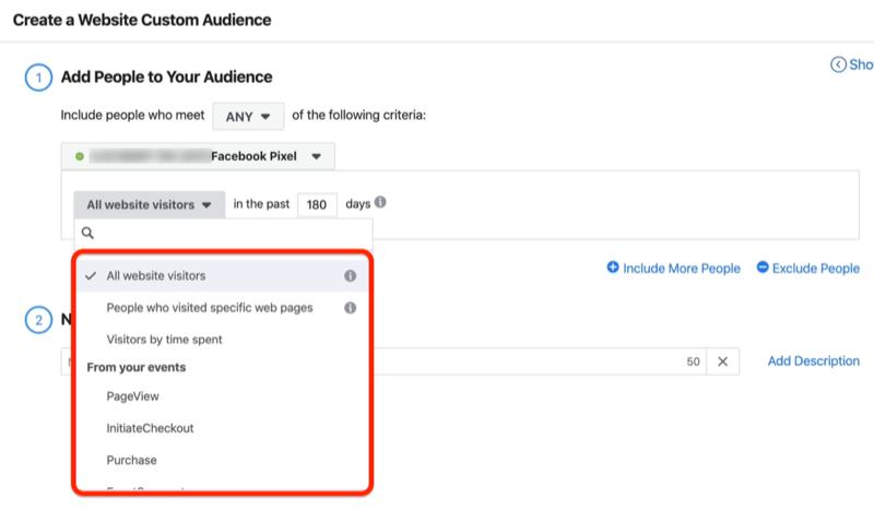 screenshot of the All Website Visitors drop-down menu options in Create a Website Custom Audience window