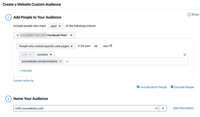 screenshot of Create a Website Custom Audience window fields filled in to create custom audience of People Who Visited Specific Web Pages in the last 45 days