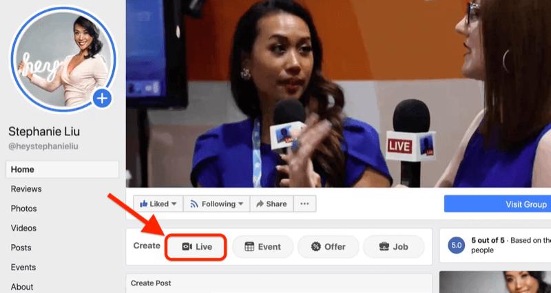 ga live op Facebook door op de live-knop op uw Facebook-bedrijfspagina te klikken