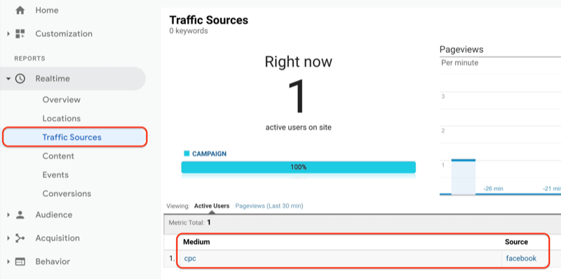 google analytics menu showing the traffic sources report under real time and the traffic sources report showing the just created url is being seen and recorded in google analytics