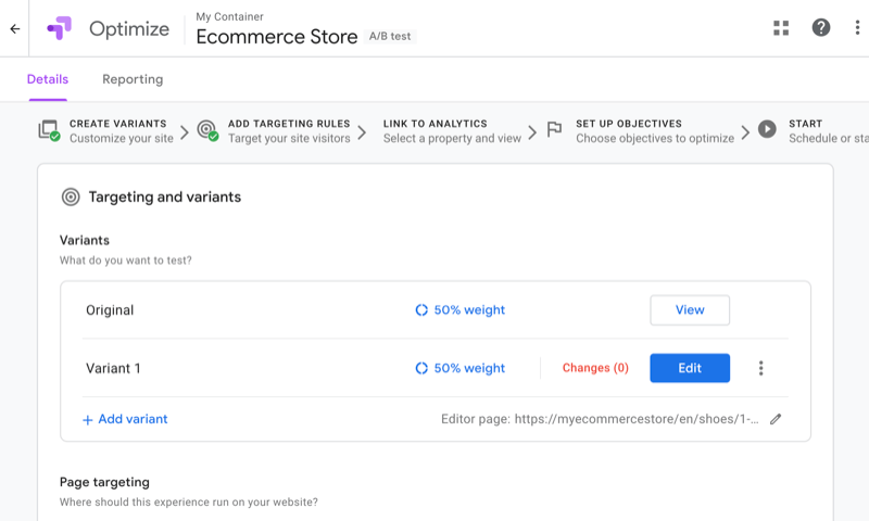 screenshot of google optimize with several targets or variants shown