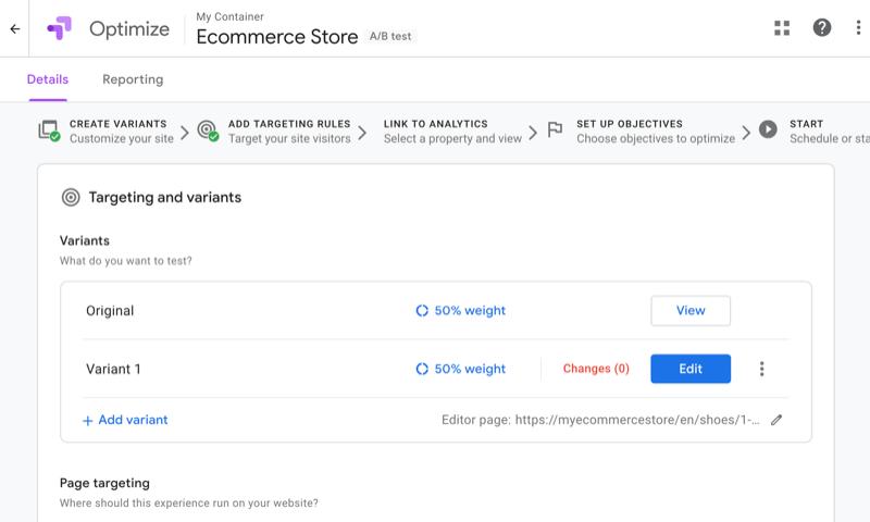screenshot van google optimaliseren met verschillende getoonde doelen of varianten