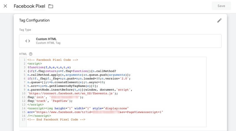 sample of facebook pixel code as it should appear in the header of a website