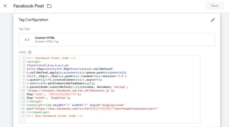 voorbeeld van Facebook-pixelcode zoals deze zou moeten verschijnen in de koptekst van een website