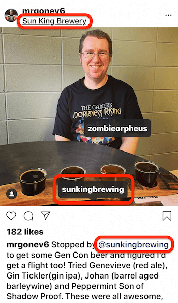 instagram post showing a multi-tagged post with a location tag, an @mention in the post caption, and a tag on the image post