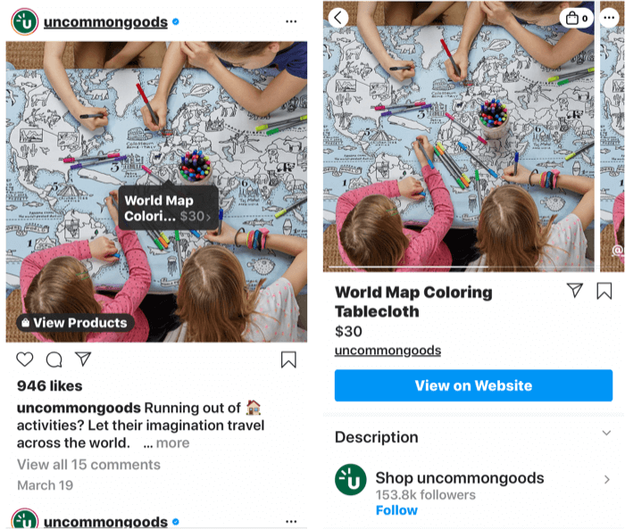 screenshots showing an instagram tag added to a shoppable product post as well as the product's shop page once a post tag is selected