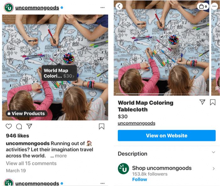 Screenshots mit einem Instagram-Tag, das einem einkaufbaren Produktbeitrag hinzugefügt wurde, sowie der Shop-Seite des Produkts, sobald ein Beitragstag ausgewählt wurde