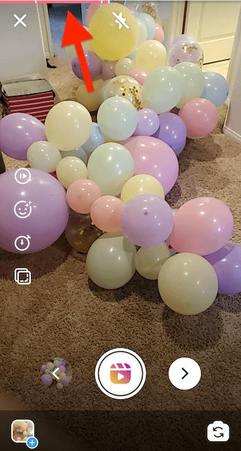 screenshot met voortgangsbalk bovenaan het instagram-haspelscherm, dat aangeeft hoeveel clips er zijn opgenomen en hoeveel seconden er beschikbaar zijn voor je huidige clip