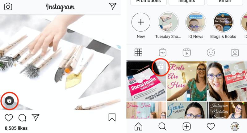 instagram reels icon shown on a feed post an on a profile grid square