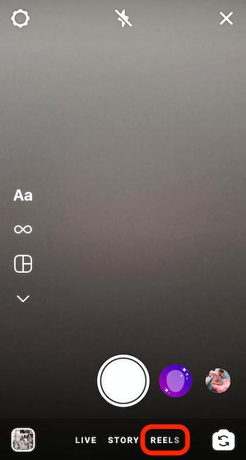 reels-menuoptie onderaan de camera van Instagram-verhalen