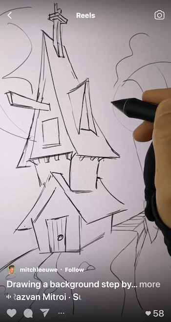 example of an instagram reel showing a step-by-step drawing tutorial