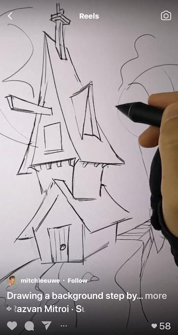 voorbeeld van een instagram-haspel met een stapsgewijze zelfstudie over tekenen