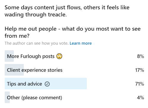 example of a linkedin poll to measure the content interest of an audience