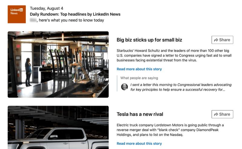 screenshot of the Daily Rundown on LinkedIn