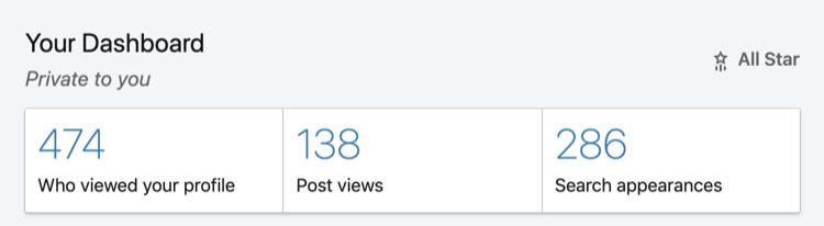 screenshot of the LinkedIn dashboard