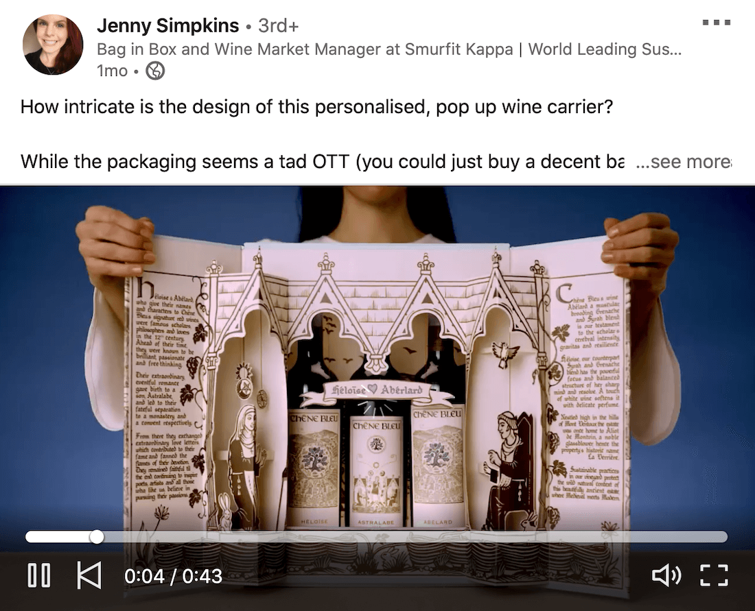 example of a linkedin video from jenny simpkins showing how to use the built-in detailed packaging of a wine pack to impress