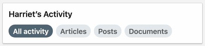 screenshot van het tabblad Alle activiteiten dat is geselecteerd op LinkedIn