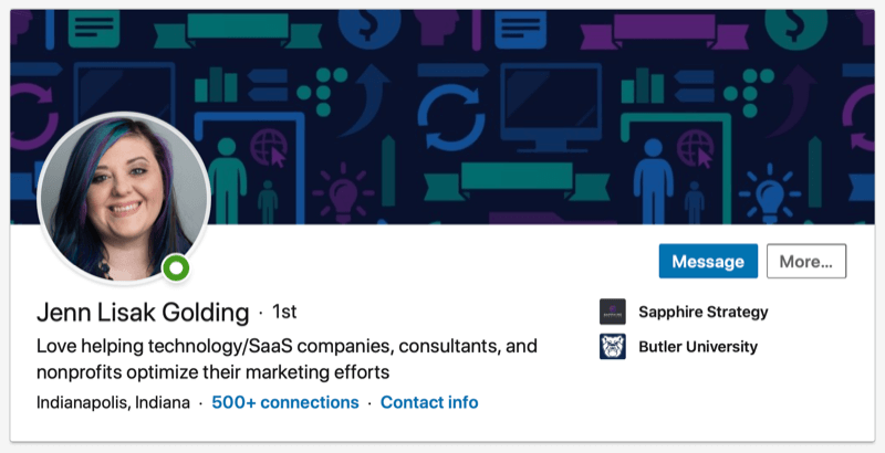 screenshot of a LinkedIn profile with a professional headshot