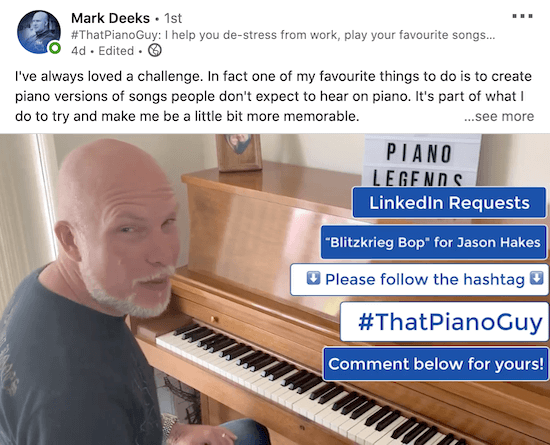 example of a linkedin video from mark deeks showing call to action text overlays such as 'linkedin request', 'please follow the hashtag' and 'comment below for yours!' among others