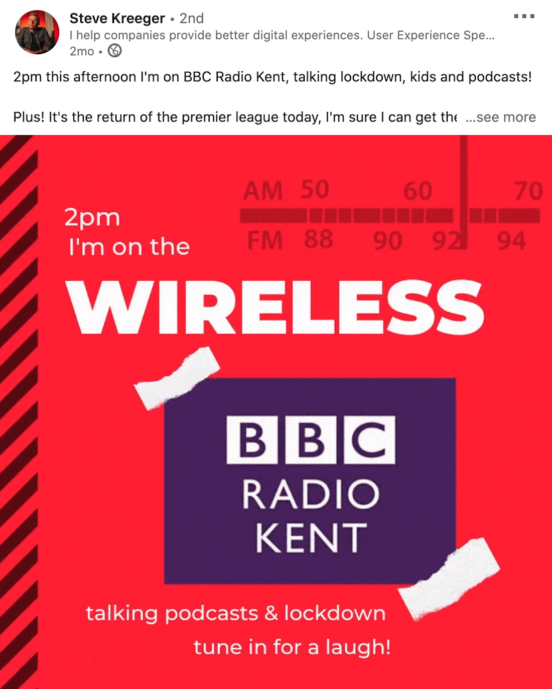 example of a linkedin video from steve kreeger announcing a podcast appearance on bbc radio kent