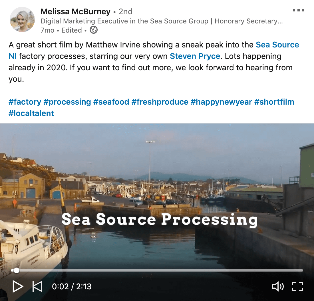 example of a linkedin video from melissa mcburney of the sea source group showing some behind the scenes footage of their factory processes