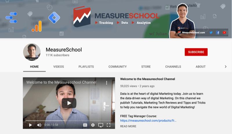 screenshot van het meetschool youtube kanaal