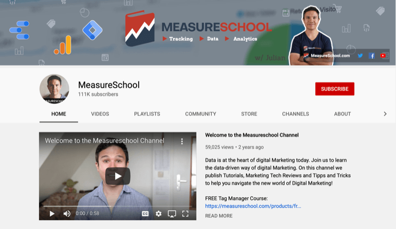 screenshot of the measureschool youtube channel