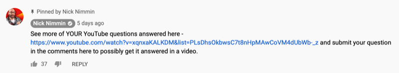 pinned youtube video comment by nick nimmin sharing another youtube video his audience might be interested in