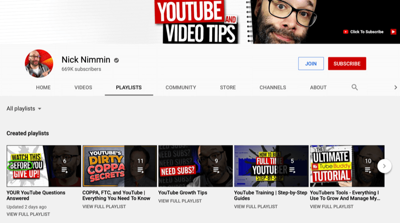 screenshot of the nick nimmin youtube channel main page on the playlist tab, showing several created playlists