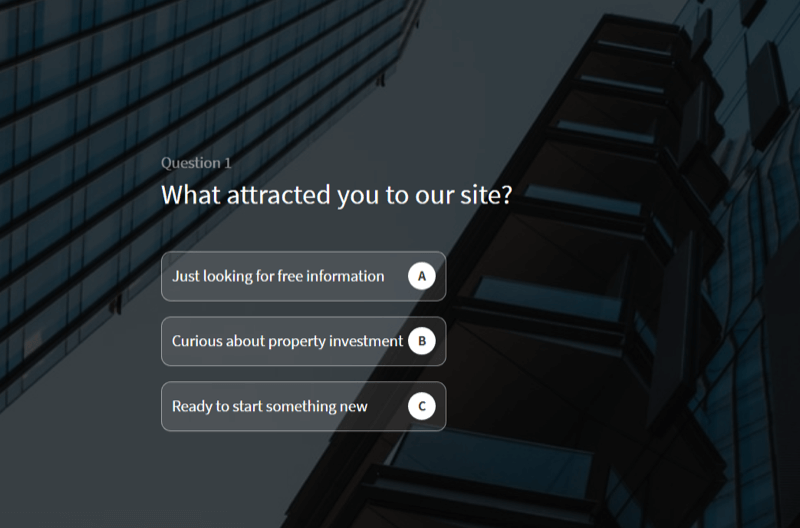 voorbeeld van een website-quiz die wordt gebruikt om leads te kwalificeren op de site van een vastgoedbeleggingsbedrijf