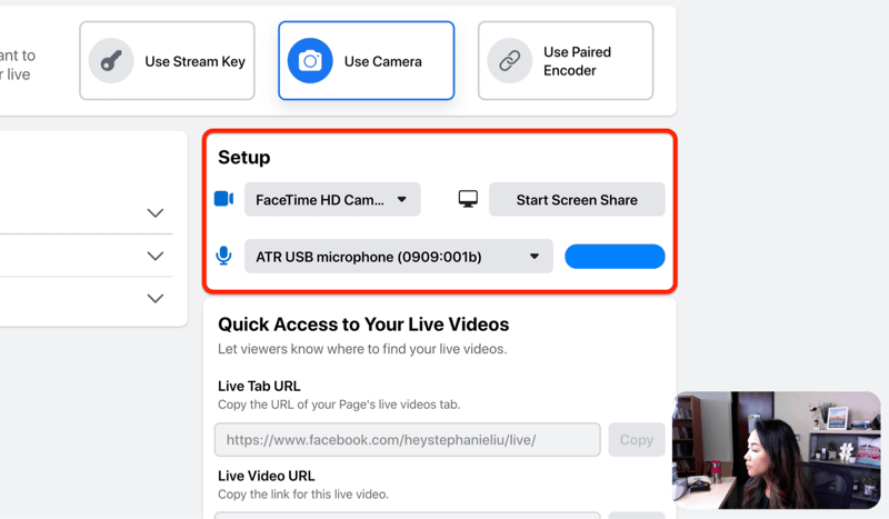 facebook live stream setup option to select your camera and microphone and/or screen share