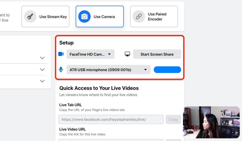 facebook live stream setup optie om je camera en microfoon te selecteren en / of scherm te delen