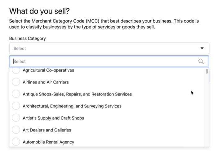在您销售的产品下设置菜单选项样本? Facebook商店菜单选项
