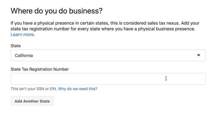 set-up menu option examples under the where do you do business? facebook shop menu option