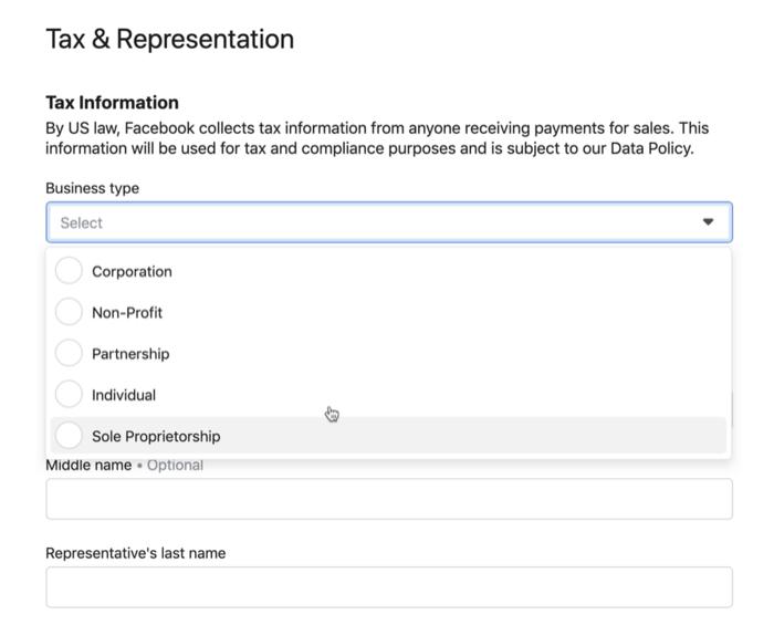 税收和代表Facebook商店菜单选项下的设置菜单选项示例
