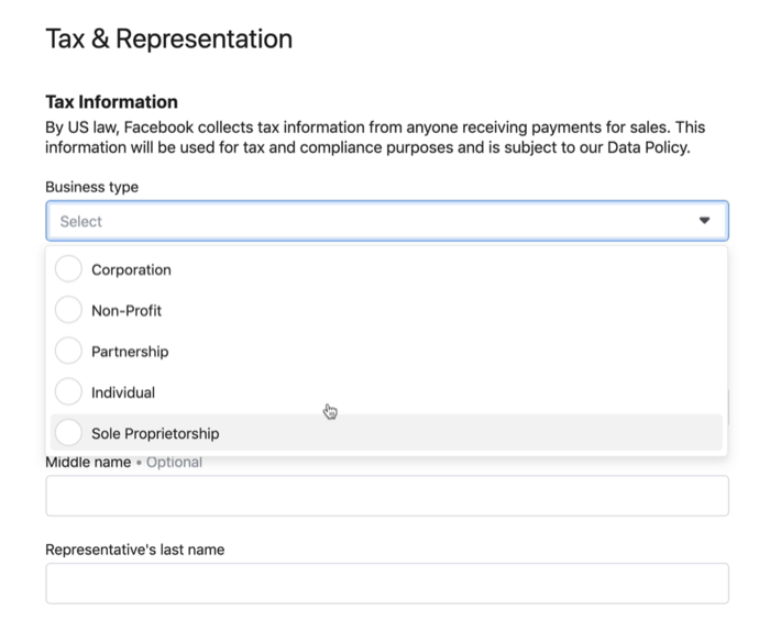 set-up menu option examples under the tax & representation facebook shop menu option