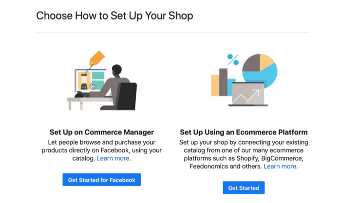 options to set up your facebook commerce account on a commerce manager or an ecommerce platform