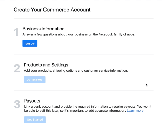 dialog box to set up your business information for your facebook commerce account
