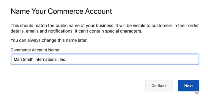 dialog box option to name your facebook commerce account