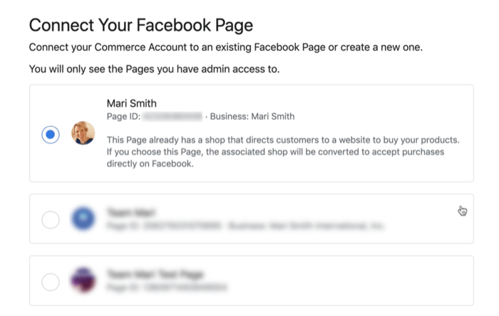 option to connect your facebook account during facebook commerce account set up