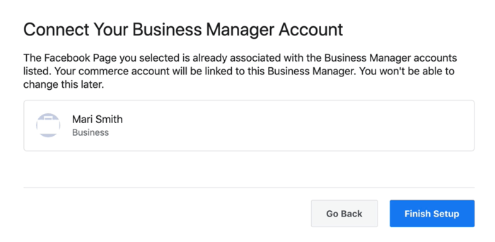 option to connect your facebook business manager account to your facebook commerce account