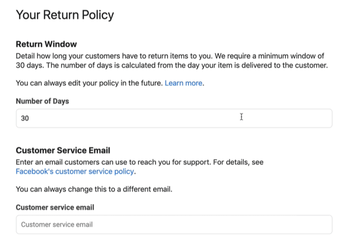 screenshot example of facebook shop return policy and customer service email which might be available