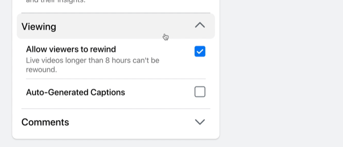 facebook live stream broadcast viewing settings to allow viewers to rewind and auto-generate captions