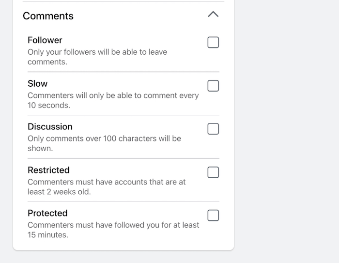 facebook live stream broadcast comments settings restricting various comment aspects