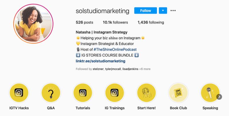 screenshot of Sol Studio Marketing Instagram account bio